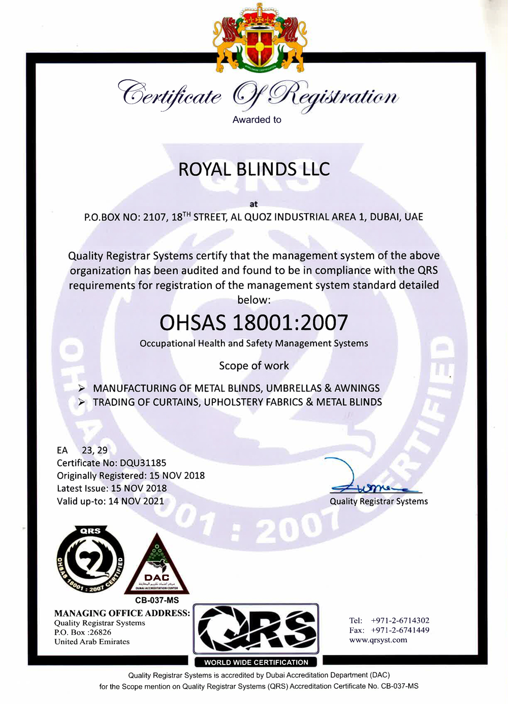 Royal Blinds Certification